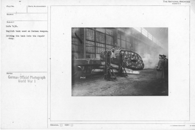 English tanks used as a German Weapon. Driving the tank into the repair shop