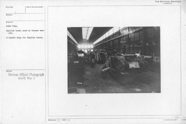 English tanks used as German weapon. A repair shop for English tanks