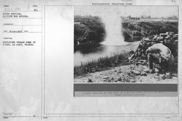 Exploding German bomb in river. Le Sart, France
