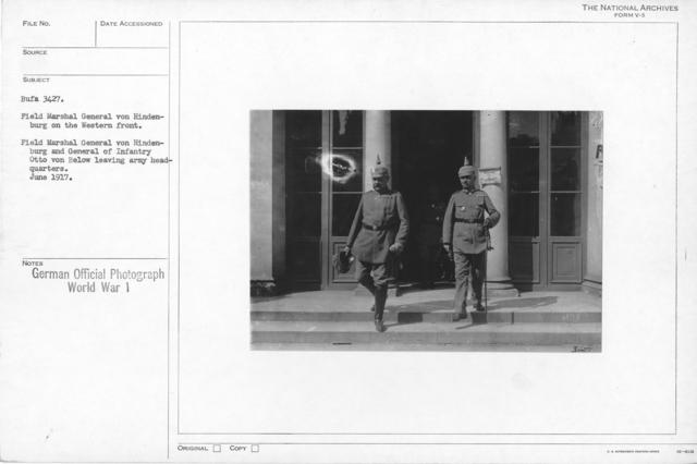 Field Marshal General Von Hdenburg on the Western front. Field Marshal General von HidenBurg and General of Infantry Otto von Below leaving army headquartes. June 1917