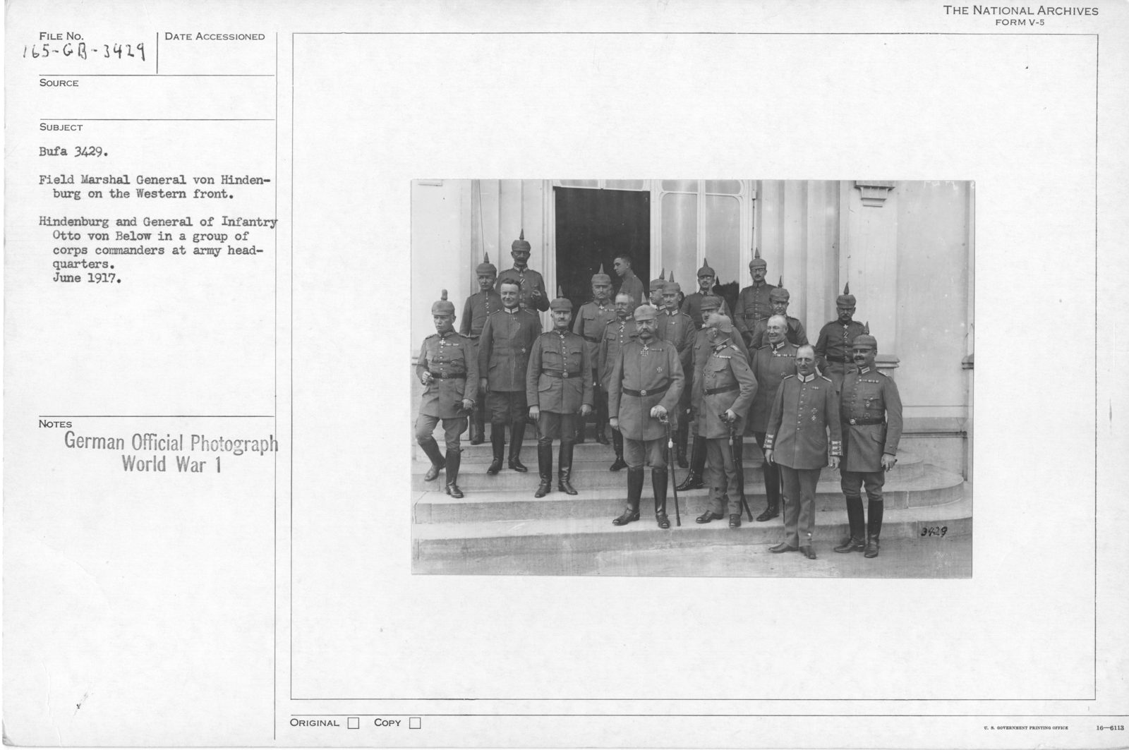 Field Marshal General von Hidenburg on the Western front. Hidenburg and General of Infantry Otto von Below in a group of corps commanders at the army headquarters. June 1917
