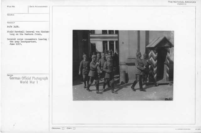 Field Marshal General von Hindeburg on the western front. Several corps commanders leaving the army headquarters. June 1917