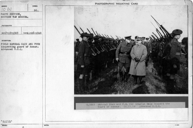 Field Marshal Haig and Foch inspecting guard of honor. Advanced G.H.Q