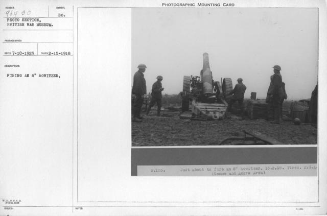 """Firing an 8"""" Howitzer. 2-15-1918"""