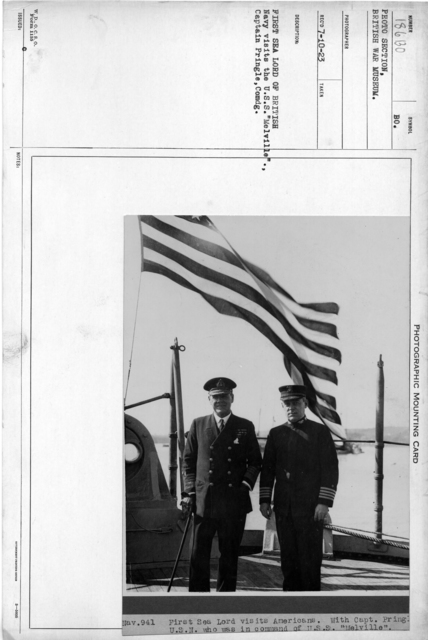 "First sea lord of British Navy visits the U.S.S. ""Melville""., Captain Pringle, Comdg"