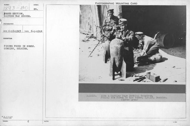 Fixing fuses in bombs. Dunkirk, Belgium