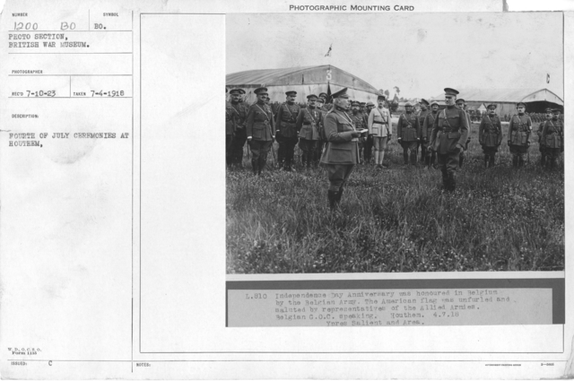 Fourth of July ceremonies at Houthem. 7-4-1918