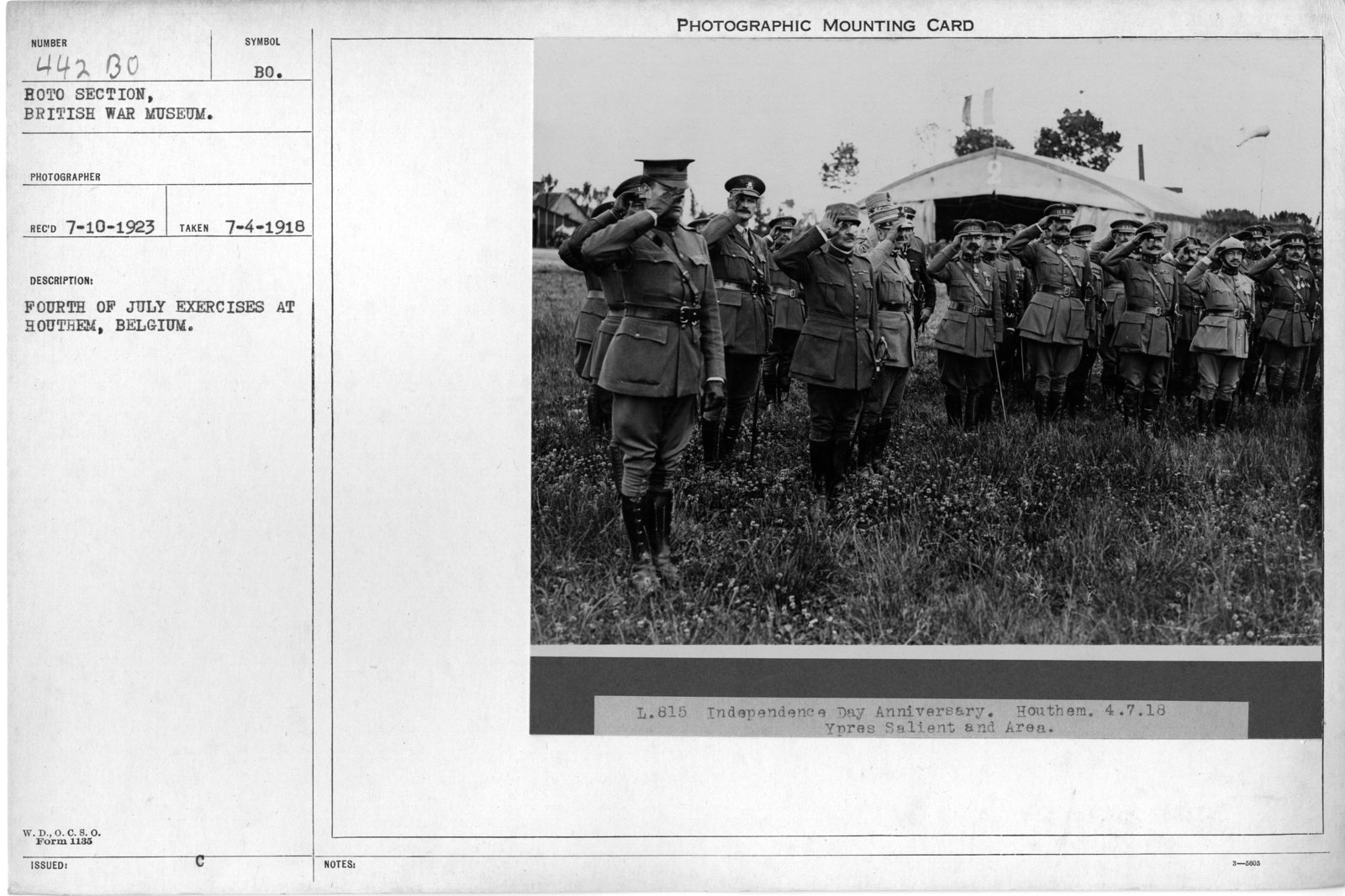 Fourth of July exercises at Houthem, Belgium; 7/4/1918
