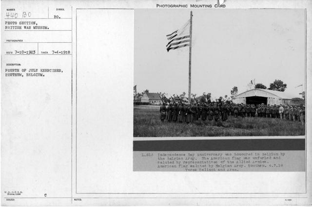 Fourth of July exercises, Houthem, Belgium; 7/4/1918