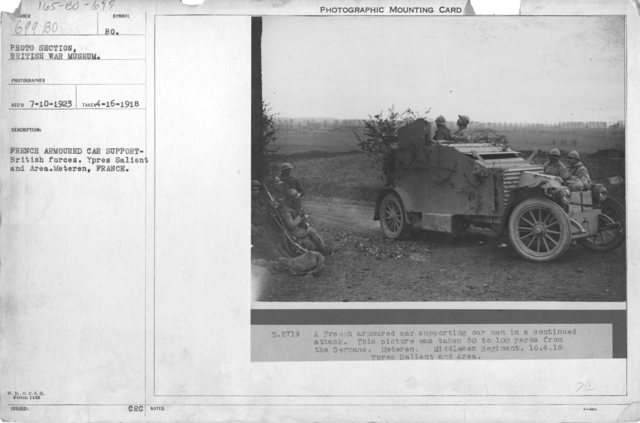 French Armoured car support British forces. Ypres Salient and Area. Meteren, France. 4-16-1918