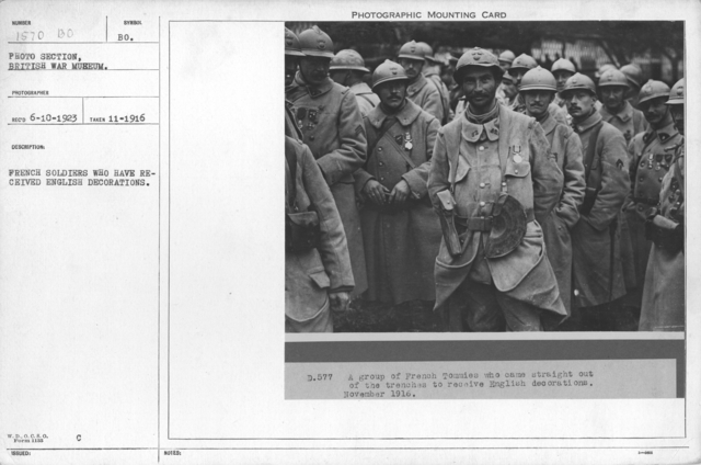 French soldiers who have received English decorations. November 1916