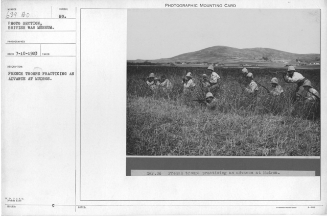 French troops practicing an advance at Mudros