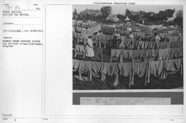 French women washing shirts for British troops. Popringhe, Belgium. 9-30-1917