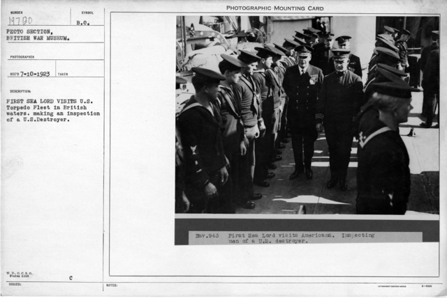 Frist Sea Lord visits U.S. Torpedo Fleet in British waters. Making an inspection of a U.S. Destroyer