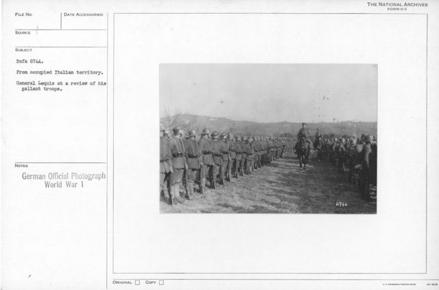 From occupied Italian territory. General Lequis at a review of his gallant troops