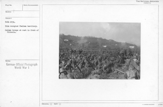 From occupied Italian territory. German troops at rest in front of Vittorio