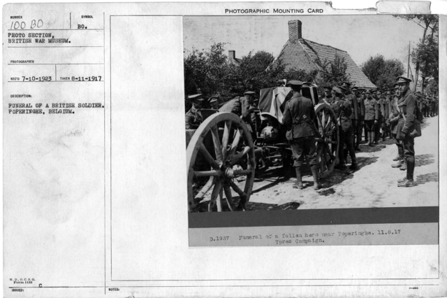 Funeral of a British soldier. Poperinghe, Belgium