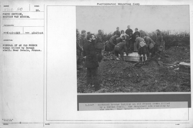 Funeral of an old French woman killed by German shell. Near Donain, France