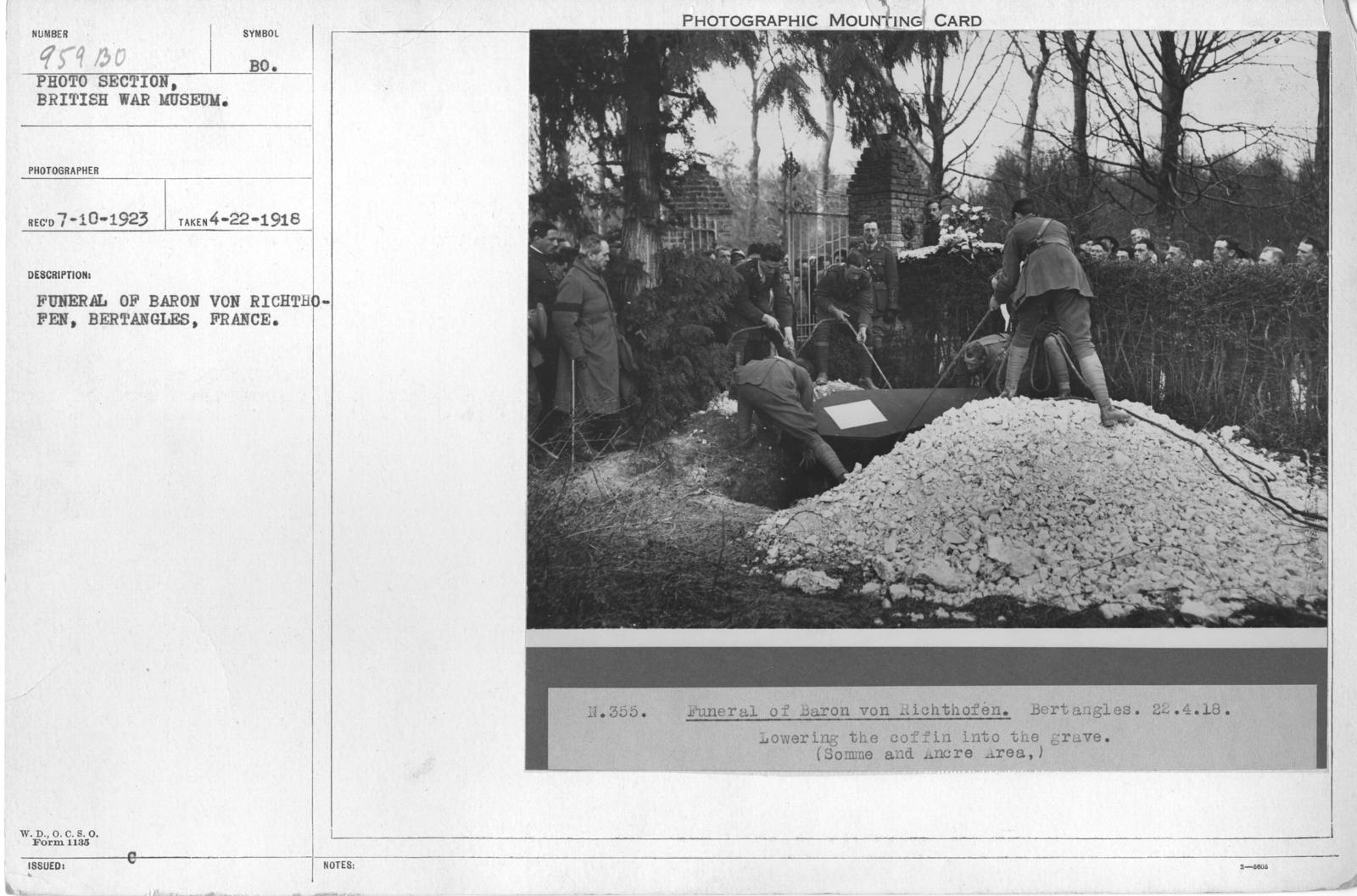 Funeral of Baron Von Richthofen, Bertangles, France. 4-22-1918