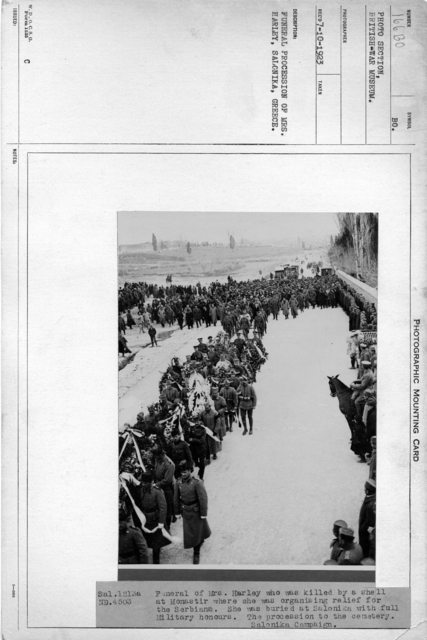Funeral procession of Mrs. Harley, Salonika, Greece