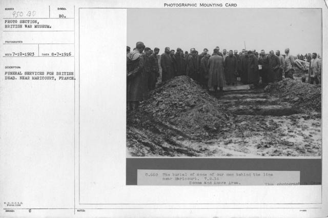 Funeral service for British dead. Near Maricourt, France. 8-7-1916