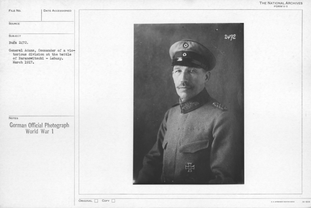 General Adams, Commander of a victorious division at the battle of Baranowitschi - Labusy. March 1917