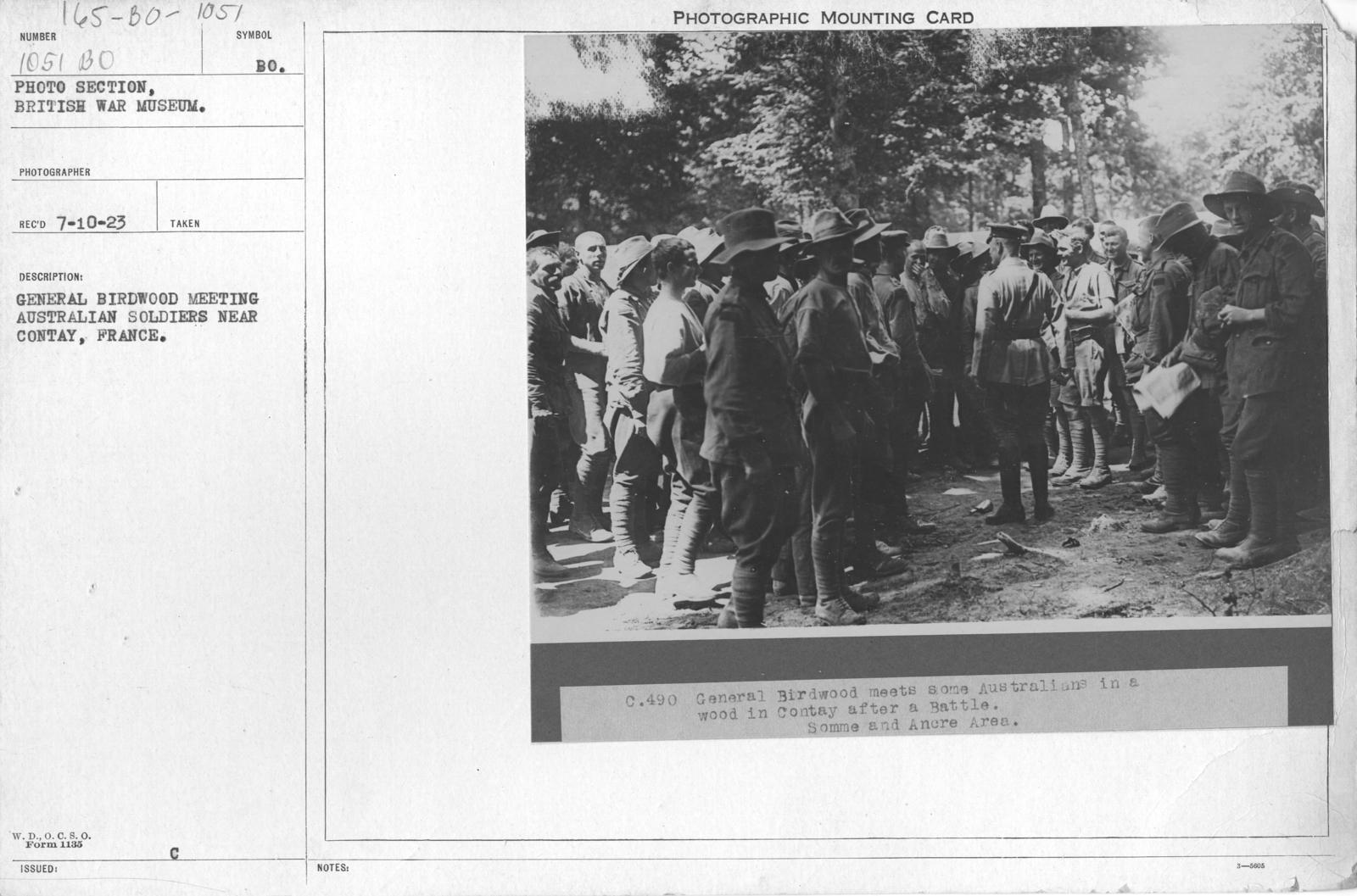 General Birdwood meeting Australian soldiers near Contay, France