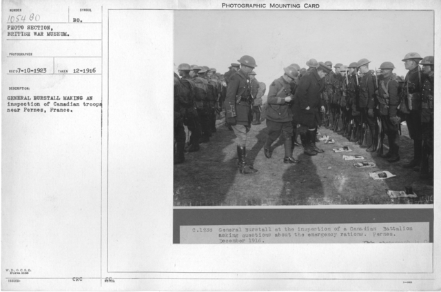 General Burstall making an inspection of Canadian troops near Pernes, France