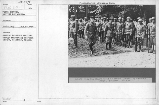 General Pershing and King George inspecting American troops, Molliens, France