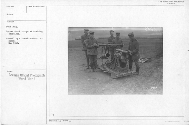 Germab shock troops at training exercises. Assault with flame throwers. At Sedan May 1917