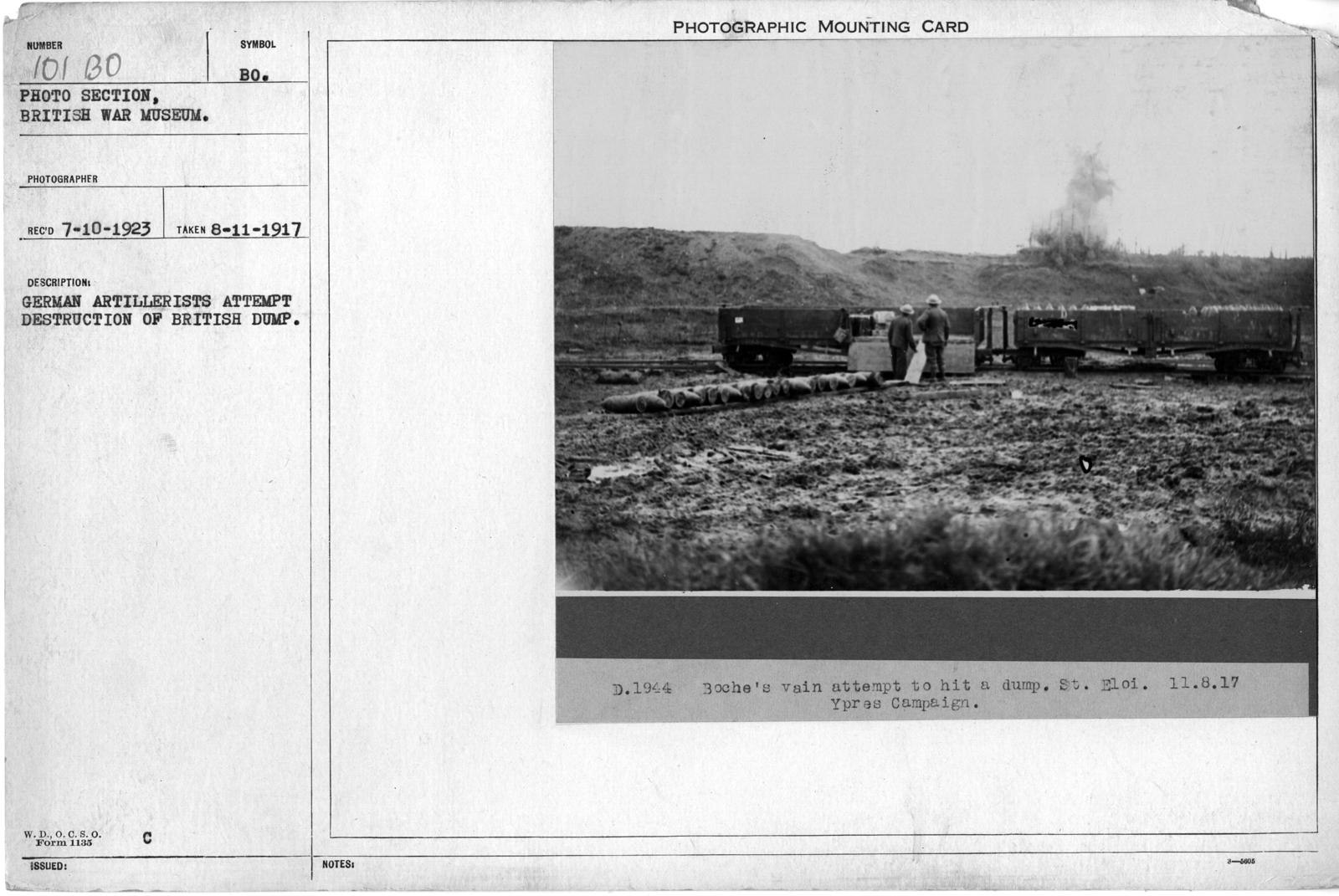 German Artillerist attempt destruction of British dump