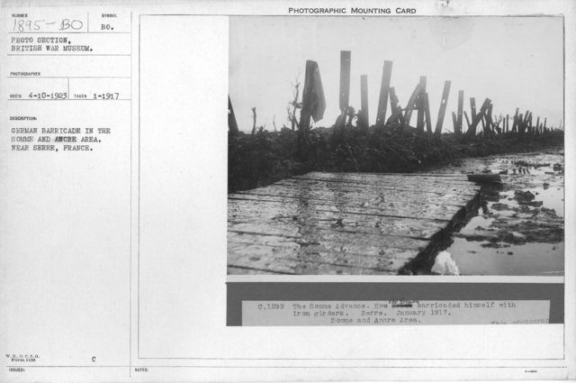 German barricade in the Somme and Ancre area. Near Serre, France