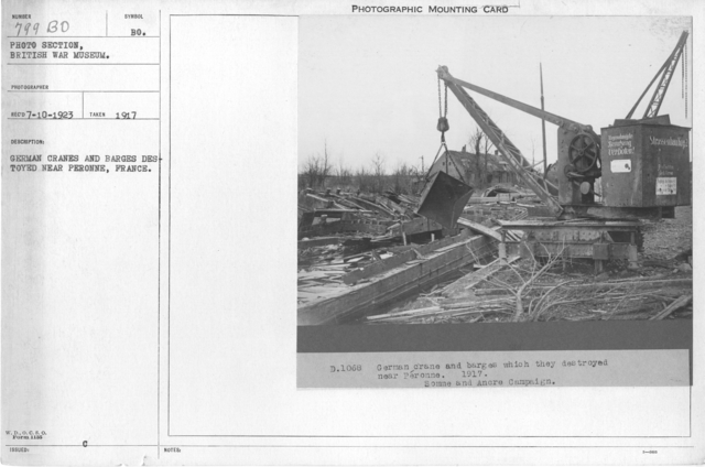 German cranes and Barges destroyed near Peronne, France. 1917