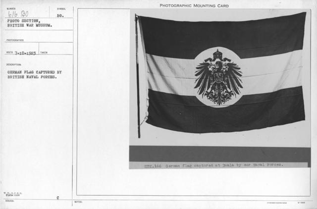 German flag captures by British Naval Forces