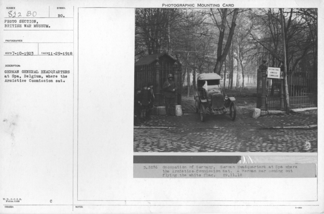 German General Headquarters at Spa, Belgium, where the Armistice Commission sat. 11-29-1918