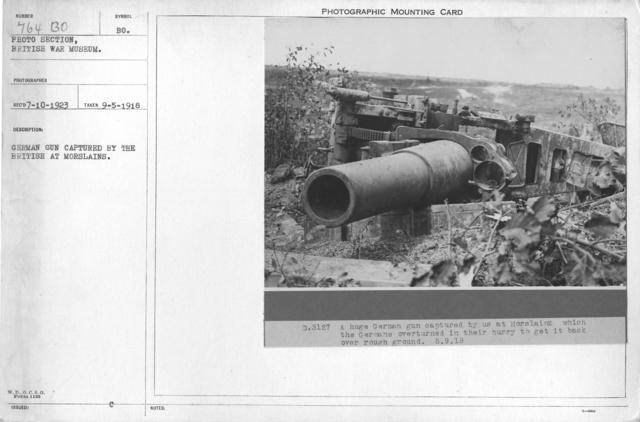 German gun captured by the British at Morslains. 9-5-1918