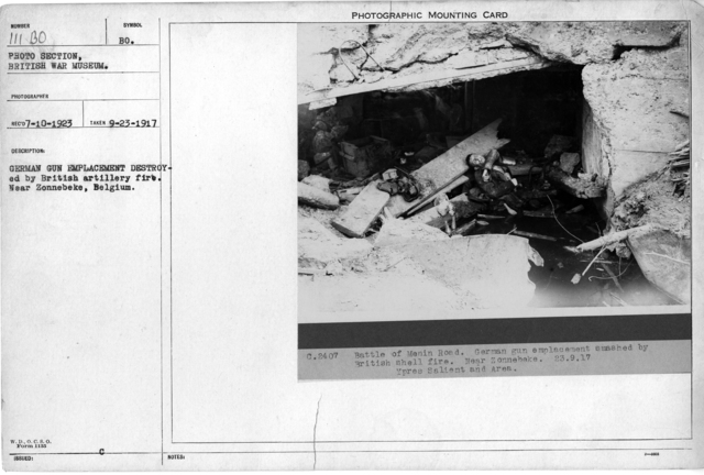German gun emplacement destroyed by British artillery fire. Near Zonnebeke, Belgium