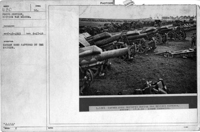 German guns captured by the British