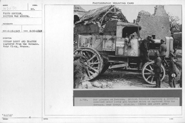 German Lorry and tractor captured from the Germans. Near Clery, France