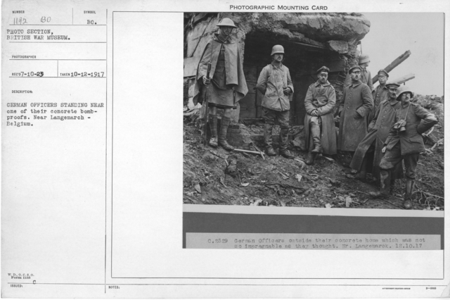 German officers standing near one of their concrete bombproofs. Near Langemarch - Belgium