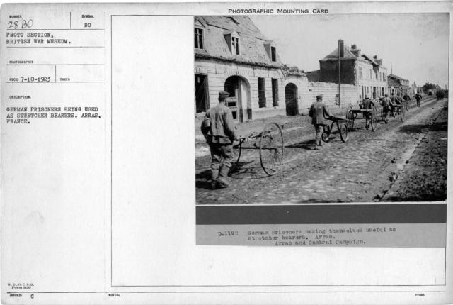 German prisoner being used as strecher bearers. Arras, France