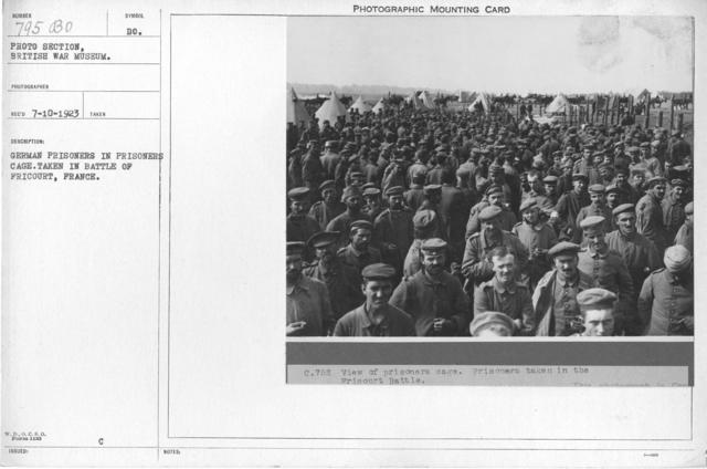 German prisoners in prisoners cage. Taken in battle of Fricourt, France