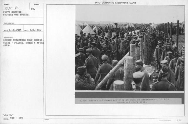 German prisoners near Dermancourt- France. Somme & Ancre Area