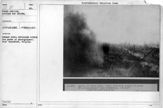 German shell exploding within ten yards of photographer. Near Zennebeke, Belgium