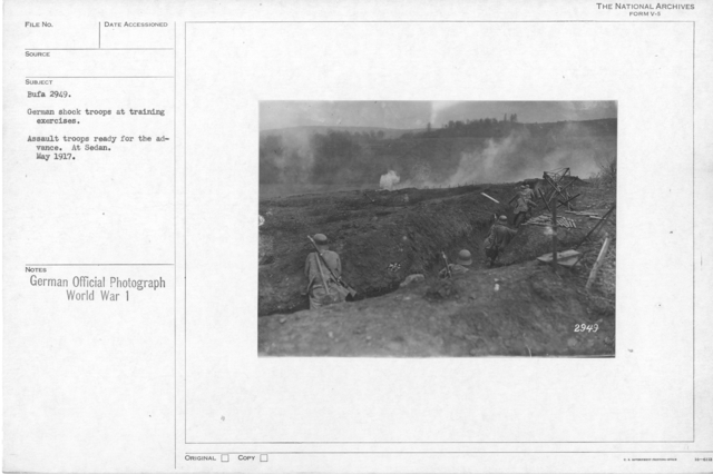 German shock troops at training exercises. Assault troops ready for the advance. At sedan. May 1917