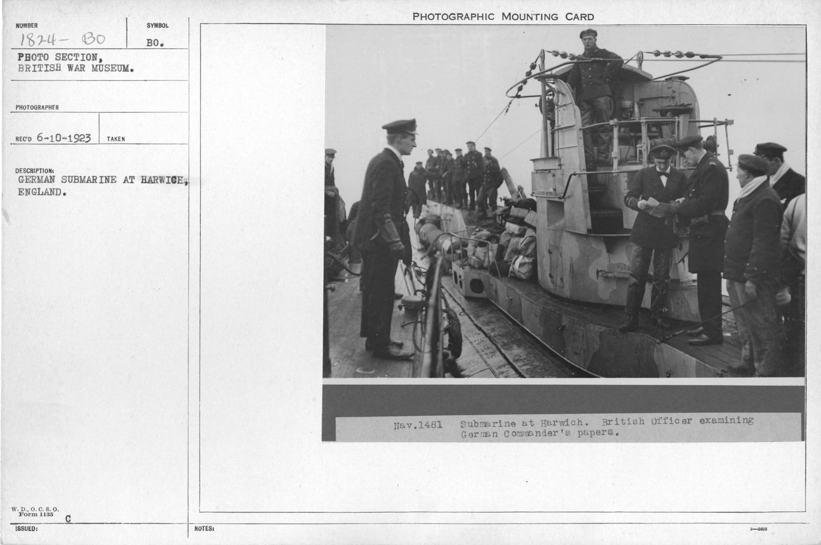 German submarine at Harwich, England