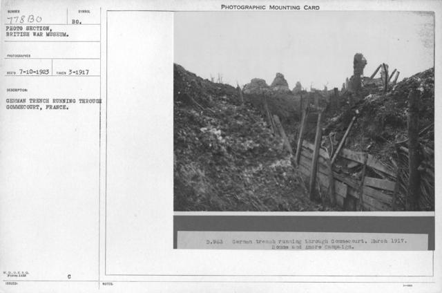 German trench running through Gommecourt, France. March 1917
