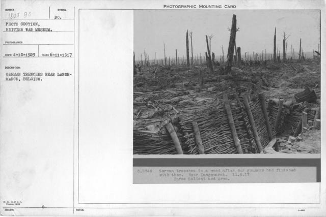 German trenches near Langemarck, Belgium. 6-11-1917