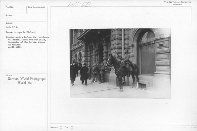 German troops in Finland. Mounted sentry before the residence of General count von der Goltz, commander of the German troops in Finland. April 1918