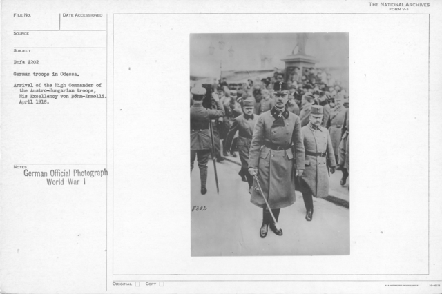 German troops in Odessa/ Arrival of high Commander of the Austro-Hungarian troops, His Excellency von Bohm-Ermolli. April 1918
